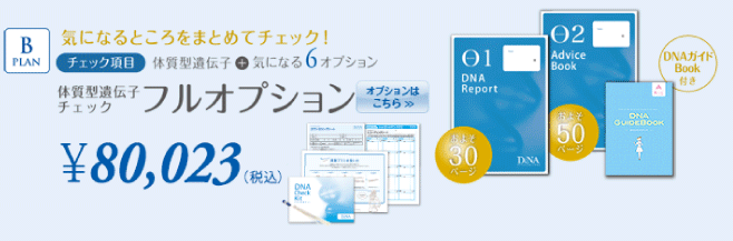 Bプラン:体質型遺伝子チェック+フルオプション
