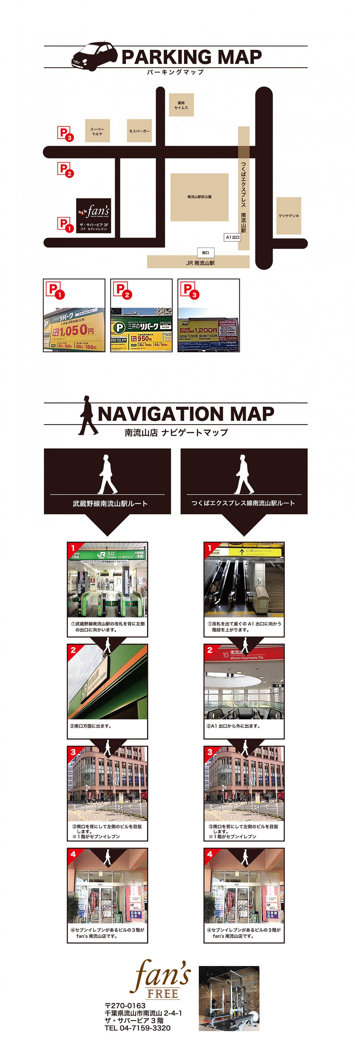 fan's南流山店パーキングマップ