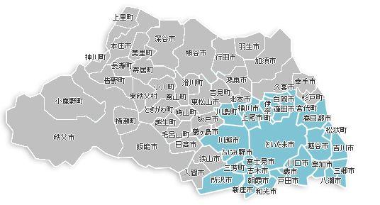 ペット火葬・ペット葬儀・ペット霊園の埼玉県内の対応エリア。